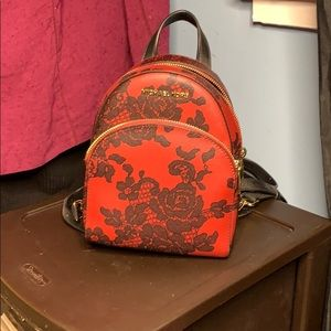 NEW Michael Kors Abbey lace cherry backpack